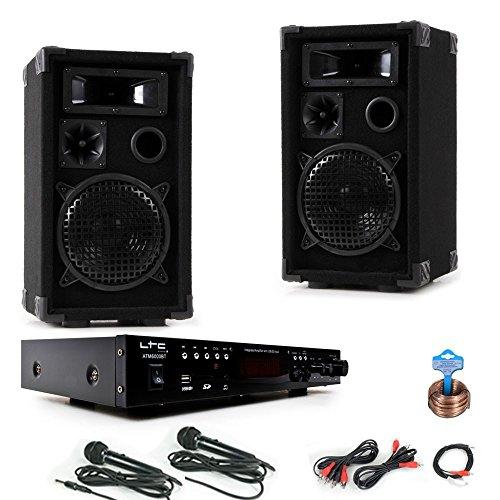 PA Party Kompakt Musikanlage Boxen Verstärker USB MP3 SD Bluetooth 2x Mikrofon DJ-Karaoke