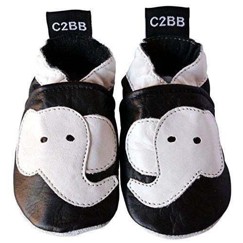 C2BB - Zapatos primeros pasos de cuero para niño Negro