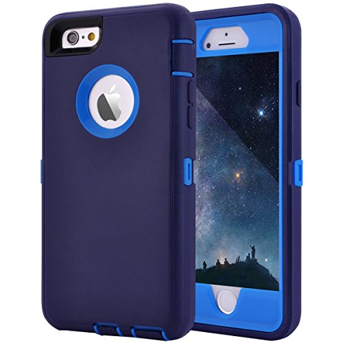 Maxcury Crosstreesports iPhone 6 Case iPhone 6s Case Heavy Duty Shockproof Series Case for iPhone 6/6S (4.7)-V2 with Built-in Screen Protector Compatible with All US Carriers - Navy and Blue