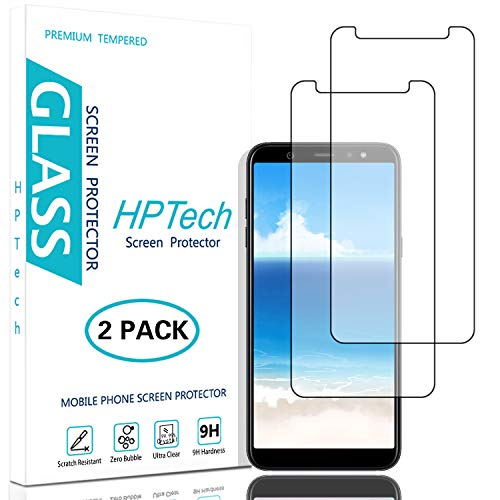 HPTech Galaxy A6 2018 Screen Protector - (2-Pack) Tempered Glass Film for Samsung Galaxy A6 2018 Easy to Install, Bubble Free with Lifetime Replacement Warranty