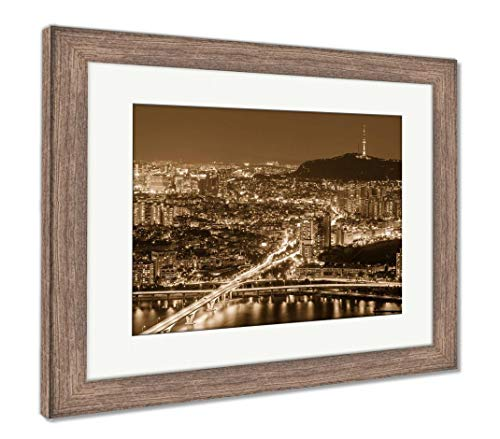 Ashley Framed Prints Seoul City at Night, Wall Art Home Decoration, Sepia, 30x35 (Frame Size), Rustic Barn Wood Frame, AG5888182
