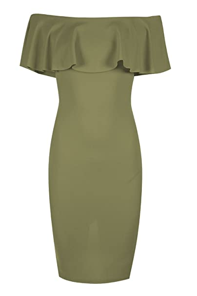 586a9e6caf18 Amazon.com  Oops Outlet Women s Off The Shoulder Peplum Frill Back Split  Bodycon Midi Dress  Clothing
