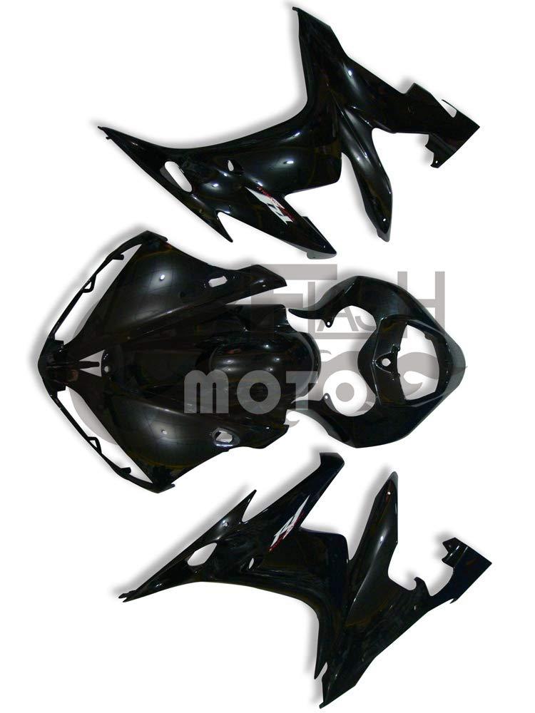 FlashMoto yamaha ヤマハ YZF-1000 R1 2004 2005 2006用フェアリング 塗装済 オートバイ用射出成型ABS樹脂ボディワークのフェアリングキットセット ブラック   B07LF4CPDJ
