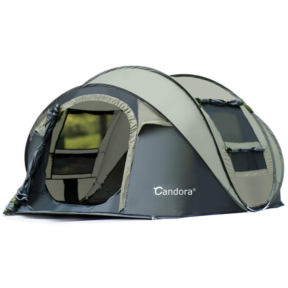 Candora Campingzelte für 4-6 Personen, sofort aufklappbar, einfacher Aufbau, 2 Türen, Netz, Fenster, wasserdicht, große Familie, Privatsphäre-Zelt, Reisen