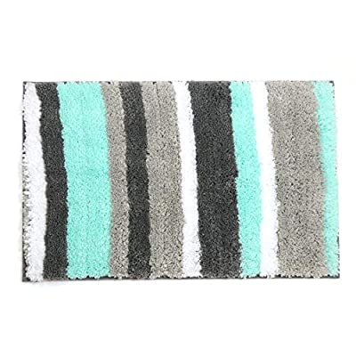"Uphome Striped Bathroom Rug, Colorful Microfiber Non-Slip Soft Decorative Bath Rugs Doormat Kitchen Floor Mat (19"" W x 31"" L, Aqua) - [Uphome Design] -This elegant bathroom rug made of 100% microfiber polyester and anti-slip TPR backing adds extra protection for elders and babies, features a classic Striped pattern, which can blend with any existing home decor. [Softness and Absorbency] Constructed to absorb water quickly, Every time you step on the mat, you can enjoy superior comfort.This Microfiber Rectangular Rug is a comfortable accent rug for in front of sinks, showers, bath tubs and toilets. [Easy Care] 100% Machine washable Or you can use the Brush to clear it in COLD water with mild detergent. The Color and the Shape will stay nice and vibrant for years. - bathroom-linens, bathroom, bath-mats - 51Ig9hPwRJL. SS400  -"