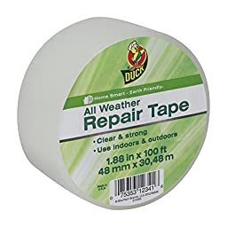 Duck Brand 281230 All Weather Indoor/Outdoor Repair Tape, Clear, 1.88-Inch x 100-Feet, Single Roll