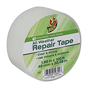 Duck Brand All Weather Indoor/Outdoor Repair Tape, Clear, 1.88-Inch x 100-Feet, Single Roll, 281230