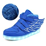 Qkettle Kids High Top Wing LED Lights up Sneakers Boys Girls Shoes(Blue-Cotton,33)