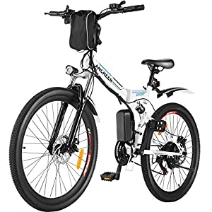 "ANCHEER 26"" Folding Electric Mountain Bike, Electric Bike with 36V 8Ah Lithium-Ion Battery, Premium Full Suspension and 21 Speed Gears"