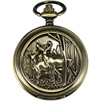 ManChDa Retro Double Open Skeleton Mechanical Roman Numerals Pocket Watch Noble Bronze with Chain Gift for Men Women