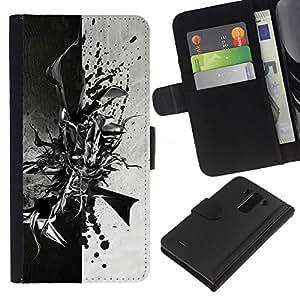 Protector de cuero de la PU de la cubierta del estilo de la carpeta del tirón BY RAYDREAMMM - LG G3 - Negro abstracto en blanco y