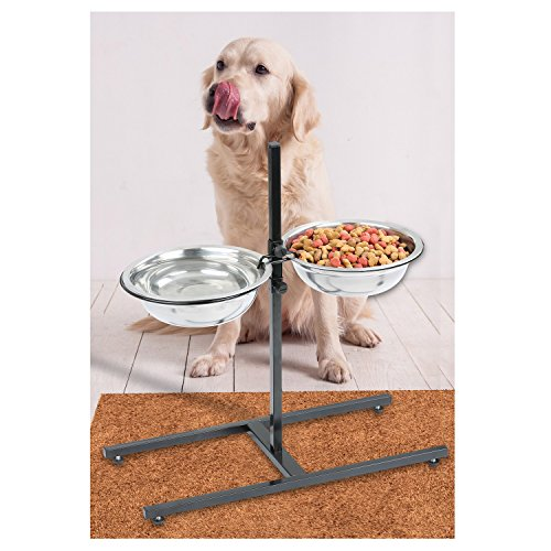 Etna Adjustable Height Elevated Pet Feeder - Raised Comfort Diner with Stainless Steel Food and Water Bowls for Dogs and (Elevated Comfort Feeder)