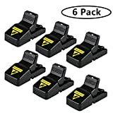 AbayTec Mouse Trap, Small Mice Traps That Work, Mice Snap Kill Trap and Power with Bait Cup, Reusable and Effective Indoor Mouse Catcher - 6 Pack