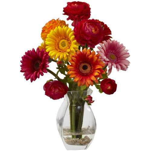 Nearly Natural 1298-AS Gerber Daisy and Ranunculus Delight Arrangement, (Nearly Natural Gerber Daisy)