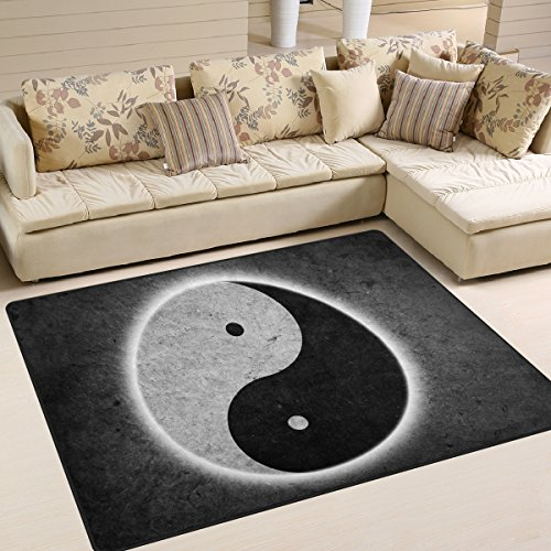 ALAZA Vintage Chinese Yin Yang Area Rug Rugs for Living Room Bedroom 7' x 5'