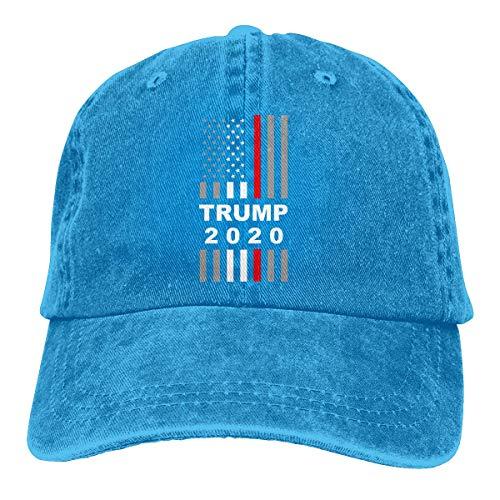 Pigment Dyed Newsboy Cap - Women Vintage Trump 2020 USA Thin Red Line Flag Washed Denim Baseball Cap Dad Hat Cotton Pigment Dyed Denim Hat Black