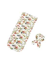 Morrivoe Baby Swaddle Blanket Sleeping Muslin Wrap Headband Sleepbag 25.6 X 11.8 inch