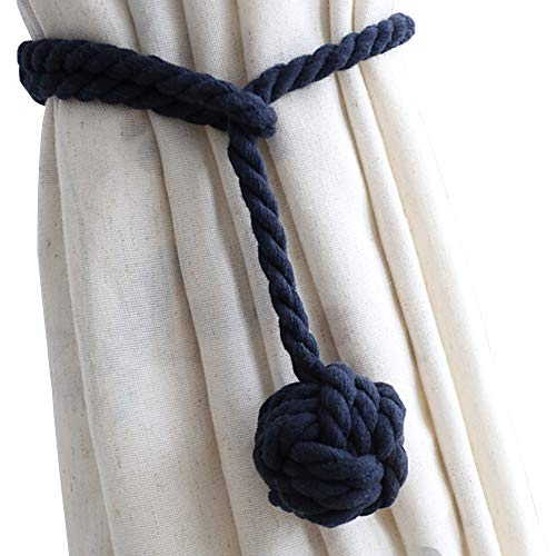 DEZENE 2 Pack Curtain Tiebacks,Handmade Natural Cotton Rope and Round Finial Drapery Tie Bakes,Decorative Holdbacks Holders for Window Sheer and Blackout Panels,Navy (Tie Back Hardware)