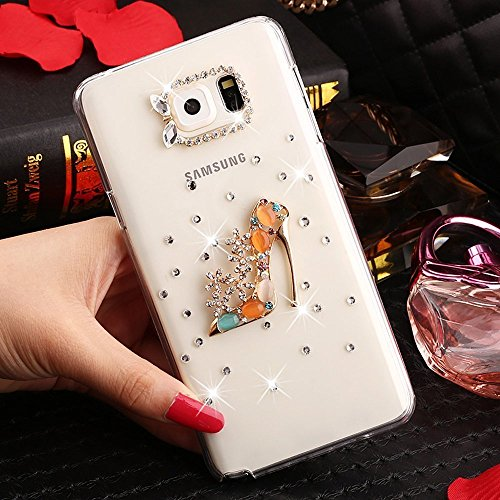 Galaxy S7 Edge Case,HAOTP(TM) 3D Handmade Bling Crystal with Shiny Sparkle Rhinestone Diamonds Design Clear Soft TPU Cover Case for Samsung Galaxy S7 Edge (High Heel) - Paillette High Heel