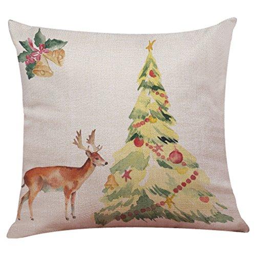 Clearance Sale! Christmas Cotton Linen Pillow Case Sofa