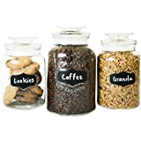 Clear Glass Chalkboard Canister Set of 3 | Premium Quality, Affordable Price | Classic Round Jar Design with Airtight Lids | Set Includes 3 Stick On Labels & BONUS Label and Chalk by FS Kitchen