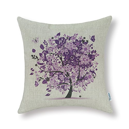 CaliTime Canvas Throw Pillow Cover Case for Couch Sofa Home Decoration Butterflies Floral Leaves Tree 18 X 18 Inches Purple ()