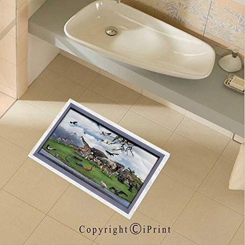 baihemiya Floor Stickers Waterproof Safety Tropic Animal Collage in The Valley with Lion Parrot Swans Elephants Flamingos Wall Floor Decals Decor for Bathroom Kitchen Backsplash, 35.4x22.8Inch,Multi