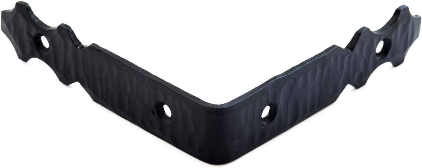 """3.5"""" Hand Forged Iron Angular Bracket Corner Protector for Tables, Chests, Trunks & Furniture – Black – Borderland Rustic Hardware"""