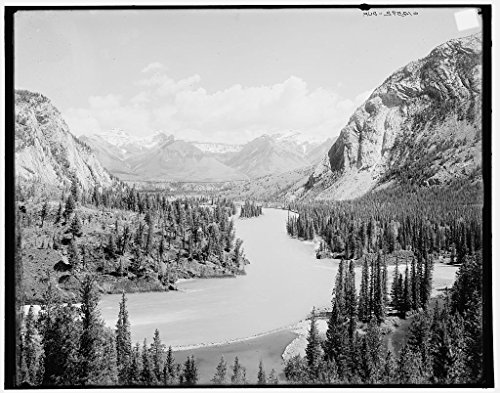 16 x 20 Ready to Hang Canvas Wrap Bow River Valley Down from Banff Springs Hotel Canadian National Park Alberta 1902 Detriot Publishing 24a (Canadian National Hotels)