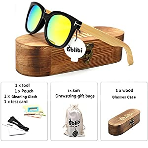 Ablibi Mens Bamboo Wooden Sunglasses Polarized Coating Lenses Eyewear In Wood Box