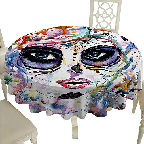 Sugar Skull Flow Spillproof Fabric Tablecloth Halloween Girl with Sugar Skull Makeup Watercolor Painting Style Creepy Look Washable Polyester - Great for Buffet Table, Parties, Holiday Dinner, Wedd]()