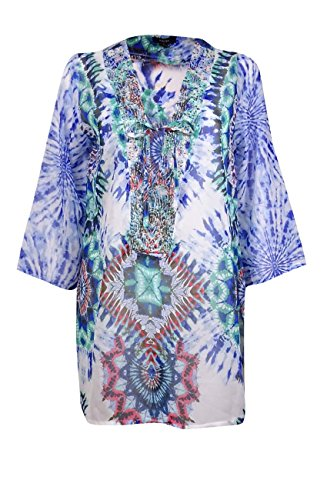 Raviya Women's Beaded Print Tunic Coverup (L, Multi) Beaded Print Tunic