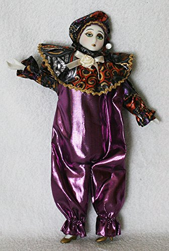 Porcelain Dolls 11 Inches, Pierrot, with Colorful and Purple Costume and Gold High Heels -