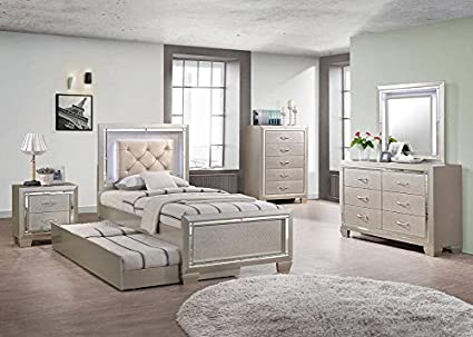 Amazon.com: Bari 6 Pc. Youth Full Bedroom Furniture Set In Beige ...