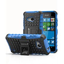Microsoft Lumia 550 Case, Fosmon (HYBO-RAGGED) Dual Layer Protection Heavy Duty Hybrid Cover with Built In Kickstand for Microsoft Lumia 550 (Blue)