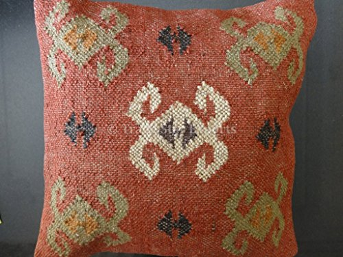 Trade Star Handwoven Killim Pillow Covers 18x18, Indian Outdoor Cushions, Sofa Throw Pillow Cases, Decorative Boho Jute Pillow Shams ()
