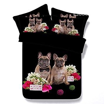 Newrara 3d Digital ropa de cama 3d perro Pug par y rosa rosa impreso 4 piezas conjuntos de funda de edredón negro, algodón, negro, matrimonio: Amazon.es: ...