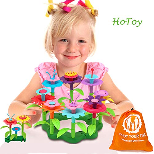 Kids Flower - HoToy Kids Toys Flower Building Toy Set, Garden Building Blocks Playset for Girls Boys, 46 PCS with 11 Colors Educational Toys Creative for Decoration and Play Ages 3 & Up