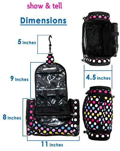 Cosmetic Bag - MakeUp Organizer - Lightweight Hanging Toiletry Travel Bag with Multiple Compartments in Polka Dot, Durable, Stylish & Fun by show & tell (Image #3)