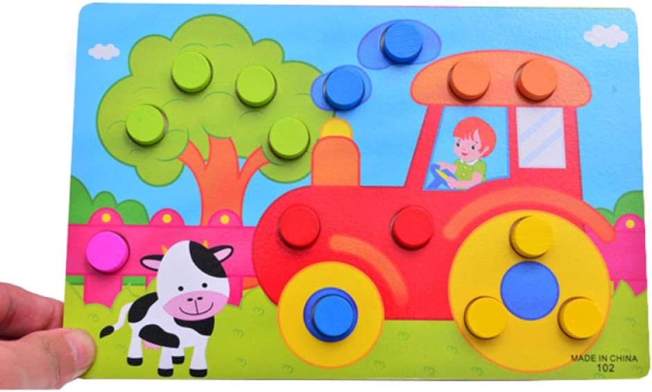 Alarmclocker8B 1 Juego de Juguetes educativos de Madera para niños en 3D para niños, Aprendizaje de Color, Dibujos Animados educativos, Juego para niños pequeños, Regalo, Juego de niñas y niños