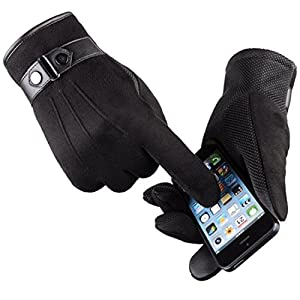 Yingniao Men's Touchscreen Gloves Suede Leather Lined Winter Warm Outdoor Gloves Black