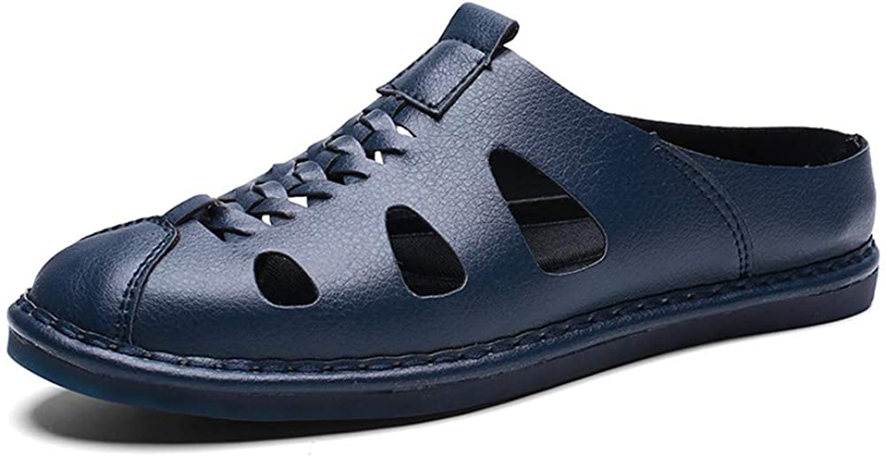 MizHome Men's Closed Toe Sandals Leather Slipper Slip-on Walking Mule Shoes
