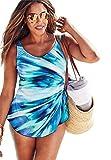 Jessica London Women's Plus Size Side-Tie Swimdress Multi Seafoam,22 W