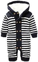 ZOEREA Infant Newborn Baby Romper Sweaters Velvet Knitted Hooded Striped 0-18months Dark Blue