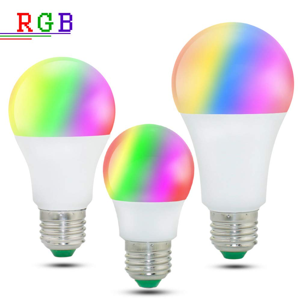MMYYY Smart Light Bulb Dimmable E27 Led Lamp RGB Bulb 5W E27 Magic Light RGB+W RGB+Ww 10W 15W Ac85-265V 16Color Changeable Remote Control Home Lighting by MMYYY