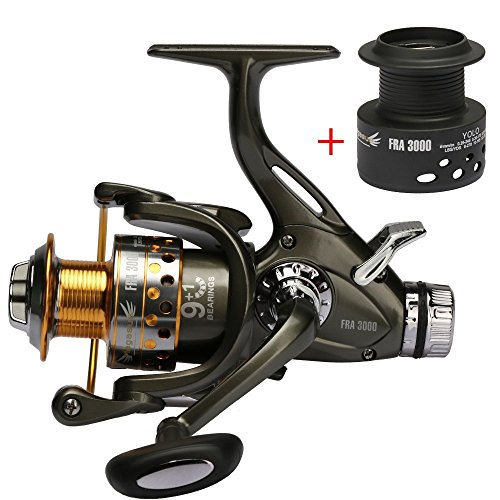 Goture Spinning Fishing Reel 5.1:1 Dual Brake Feeder 9+1BB Carp Reel with Rear Drag Freshwater or Saltwater 3000 4000 5000 6000 Series