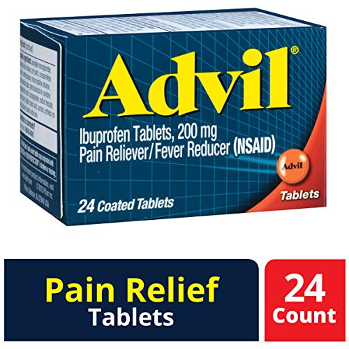 Advil (24 Count) Pain Reliever / Fever Reducer Coated Tablet, 200mg Ibuprofen, Temporary Pain Relief