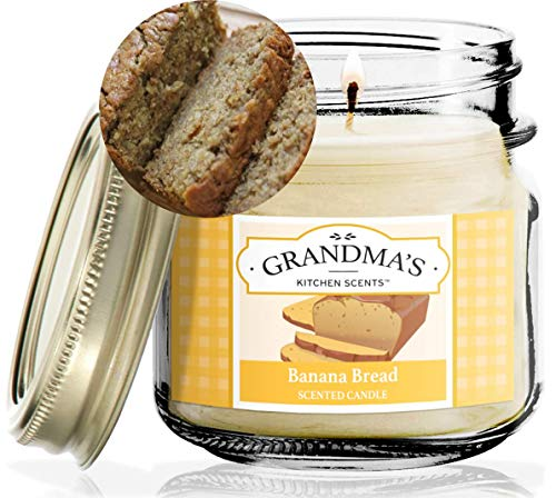 Banana Nut Bread Scented Candles for Home | Non-Toxic Long-Lasting Soy Candles | Delicious Scent | 8 oz Mason Jar | Hand Made in The USA