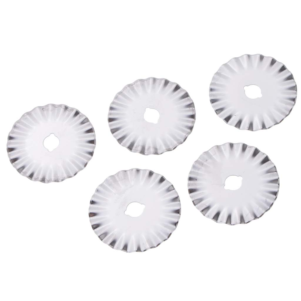 Fityle 5 Pieces Decorative Rotary Replacement Pinking Blade 45 Wave Blades Refill Sewing Fabric Leather Photo Paper Roller Craft Steel Quilting Blades