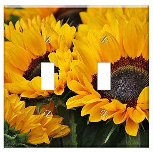 Sunflower Toggle - Switch Plate Double Toggle - Sunflower Flowers Blossom Bloom Yellow Plant